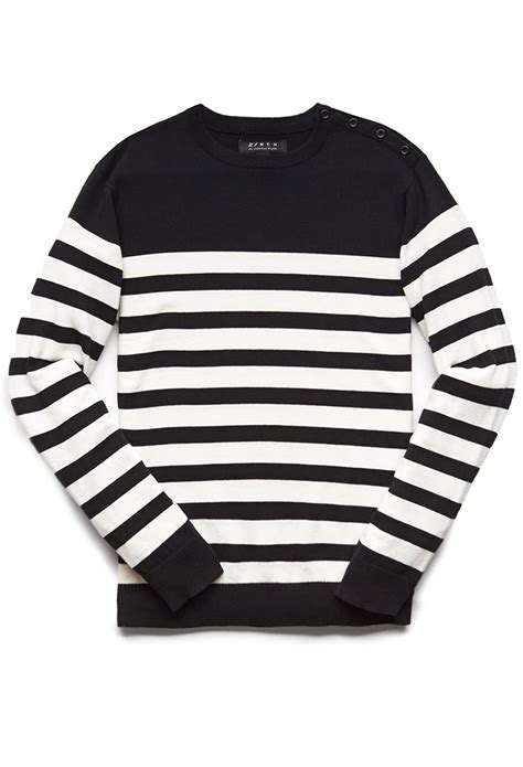Kemeja Sweater Black White lyst forever 21 buttoned striped sweater you ve been added to the waitlist in black for
