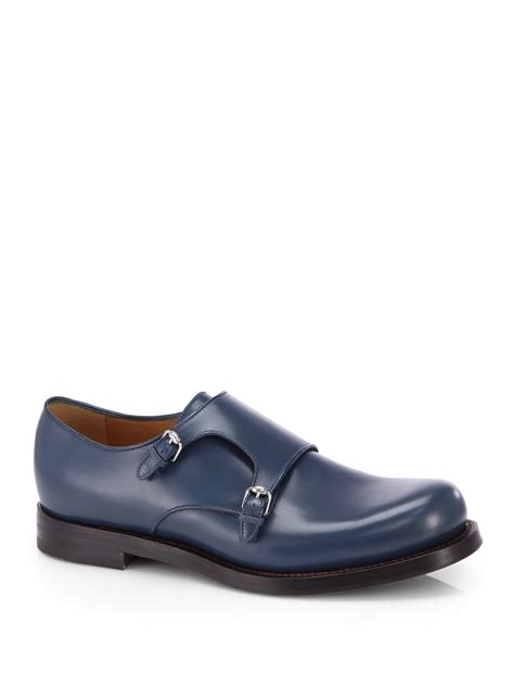 gucci monk leather dress shoes in blue for