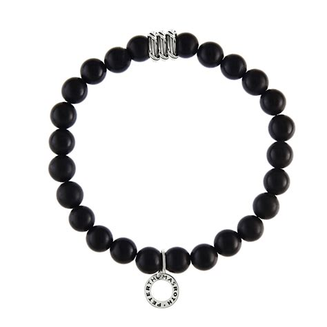 black and silver bead bracelet ribbon reed explorer bead bracelet in sterling silver