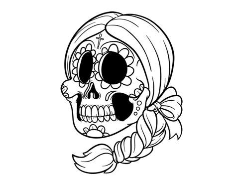 calavera mexicana dibujo dibujo de calavera mejicana con trenza para colorear