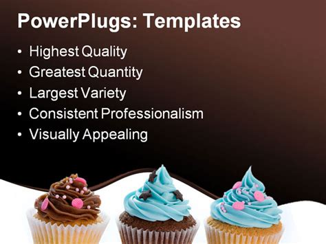 Three Cupcakes In A Row Isolated Against White Powerpoint Template Background Of Cupcakes Cupcake Powerpoint Template