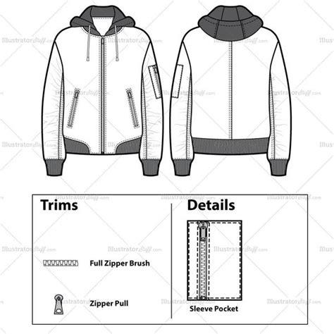 unisex hooded bomber jacket flat template illustrator stuff