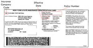 temp car insurance for new drivers sle nys insurance id cards new york state dmv