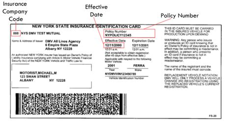 how to make insurance card sle nys insurance id cards new york state of
