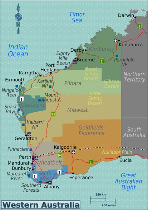 map of western australia western australia travel guide at wikivoyage