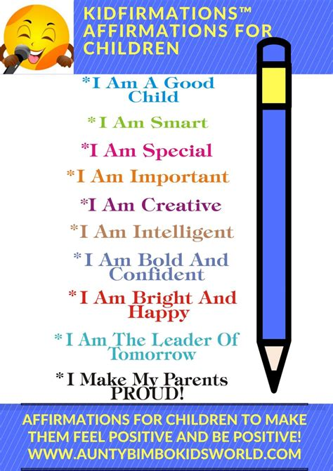 27 Positive Self Affirmations For 11 Aspects Of by Empower A Child Today With Positive Words Buy Them