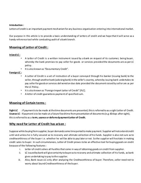 Letter Of Credit Number Meaning letter of credit article