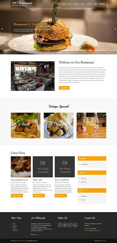 mdm html themes download free restaurant wordpress theme for bistro food and