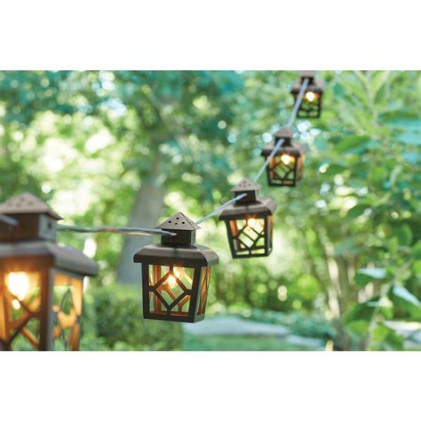 Lantern Patio Lights Hton Bay 8 Light Black Metal Lantern Outdoor Hanging Cafe String Light Kf93096 Bk The Home