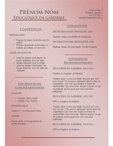 Modéles Cv by Resume Format Pr 233 Sentation Cv Exemple