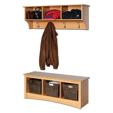 coat rack with bench and storage prepac sonoma maple cubbie bench wall coat rack set hall