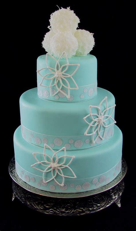 Fondant Wedding Cake Tiffany Blue With Snowake And Snow