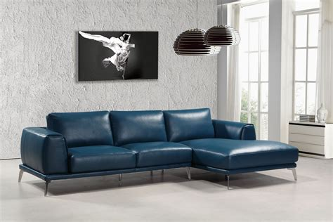 Divani Leather Sofa Divani Casa Drancy Modern Blue Bonded Leather Sectional Sofa