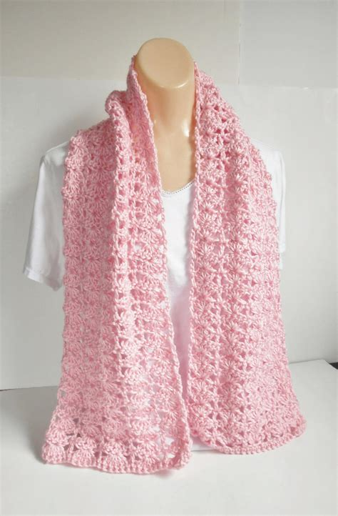 Handmade Scarf Patterns - pink crochet scarf handmade summer or winter