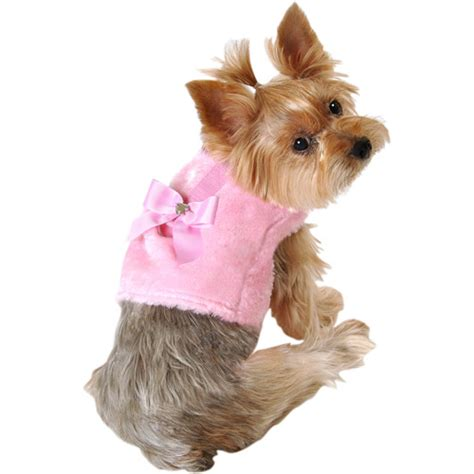 simply harness simply fur and bow harness pink sizes available dogs