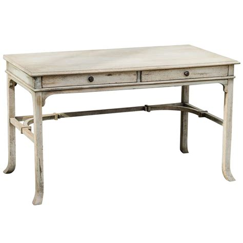 Candide French Country Antique White Wood Writing Desk Wood Desk