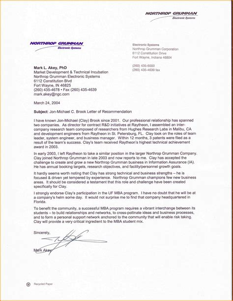 Letter Of Recommendation Mba recommendation letter for mba templates free printable