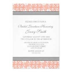 coral gray damask bridal lunch invitation cards 5 quot x 7 quot invitation card zazzle