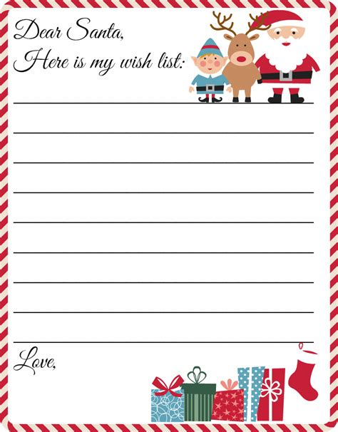 printable christmas list paper free printable letter to santa template cute christmas