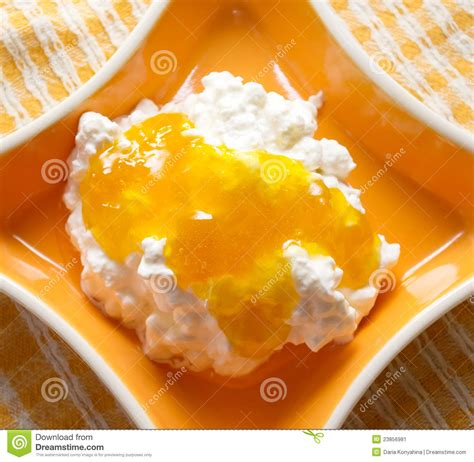 cottage cheese with jam stock image image 23856981