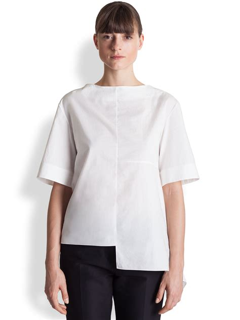 Blouse Asymmetric marni asymmetrical cotton blouse in white lyst