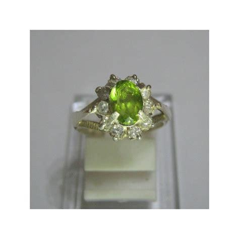 Cincin Perak Simple Batu Peridot 2 cincin perak dengan batu peridot asli dan alami untuk wanita
