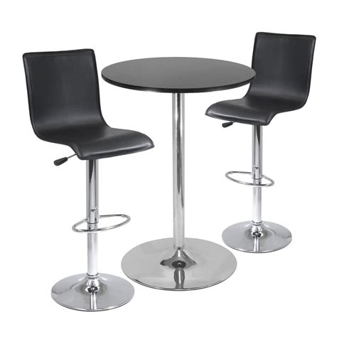 Black Metal Bistro Table Shop Winsome Wood Spectrum Black Metal Dining Set With Bar Height Table At Lowes