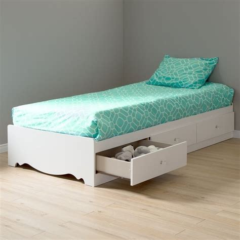 twin bed frame white south shore crystal twin mates storage frame only pure