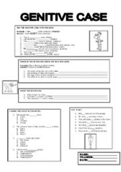 genitive case english exercises english worksheets genitive case