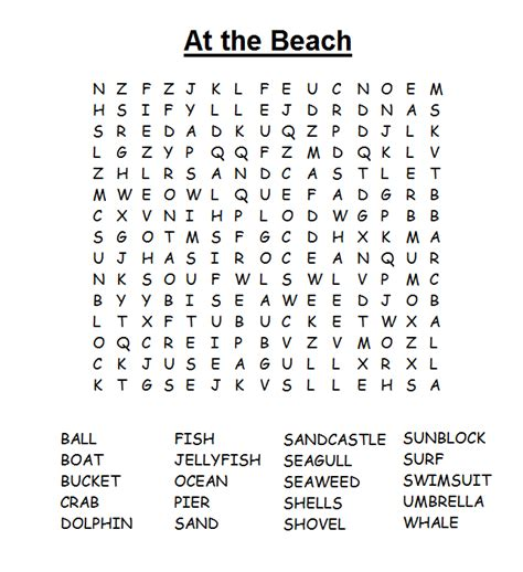 Search Pages Summer Word Search Pages