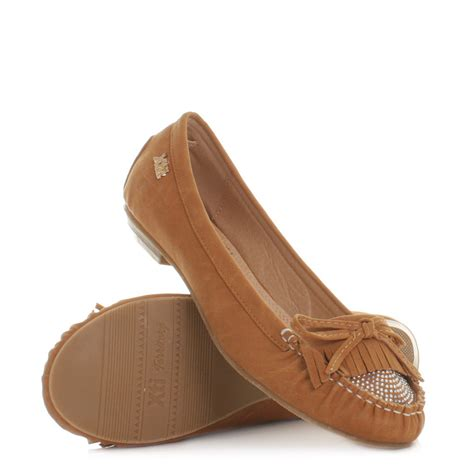 womens xti camel moccasins loafers flat fringe comfy