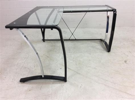 Glass Top Corner Desk Modern Metal Glass Top Corner Desk