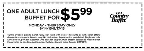 country buffet coupons eat free pinned september 14th 6 buck bottomless lunch at country buffet coupon via the coupons