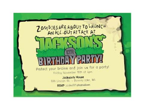plants vs zombies invitation template kara s ideas plants vs zombies boy 6th