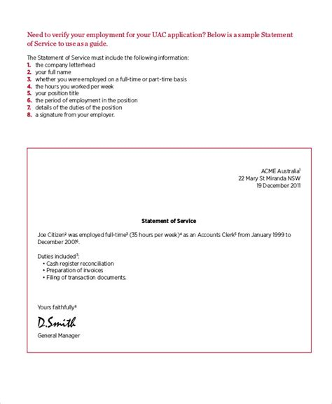 Letter Of Service From Employer Australia Statement Letter Sle 9 Exles In Word Pdf