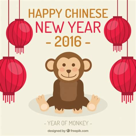 new year in 2016 in china happy new year 2016 with a monkey vector