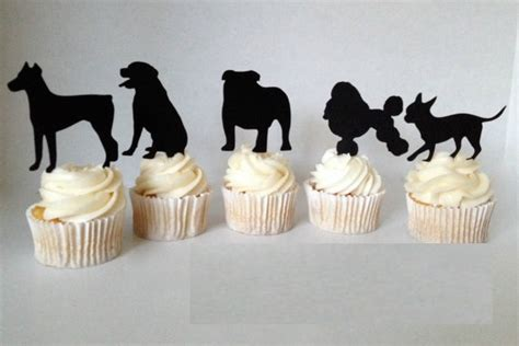 Decorative Toothpicks Wedding by Adorable Puppy Silhouette Cupcake Toppers Pet Birthday