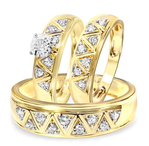 1 2 carat trio wedding ring set 14k yellow gold