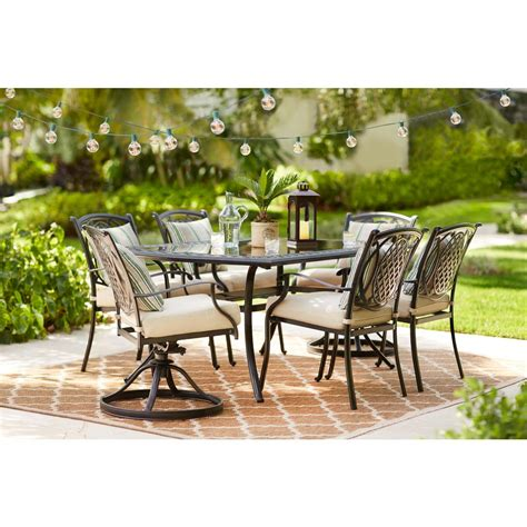 patio 7 dining set hton bay pin oak 7 wicker outdoor dining set with