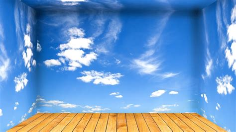 room sky clouds wooden floor digital art photo