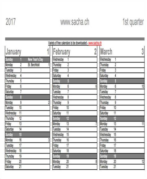 quarterly calendar template 10 quarterly calendar template free sle exle