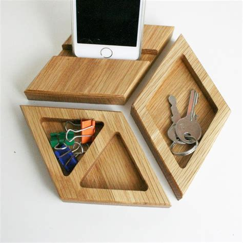 Gifts For The Office Desk Chunky Oak Desk Tidy Hexagon Desk Tidy Office Tidy Phone Stand Modular Desk Tidy