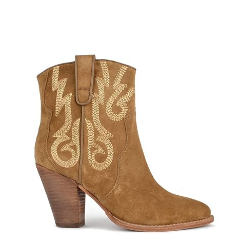 ash joe wilde camel suede embroidered ankle boot