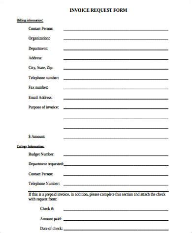 invoice request form template sle invoice form 10 exles in pdf