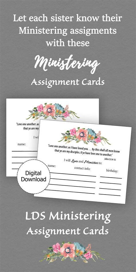 Visiting Teaching Assignment Cards Template by Ministering Assignment Card Printable Ministering