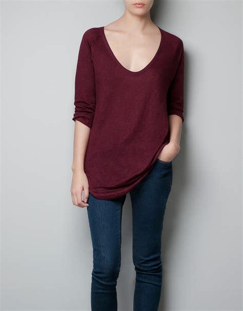 Line Longshirt zara sleeve linen t shirt in clear lyst