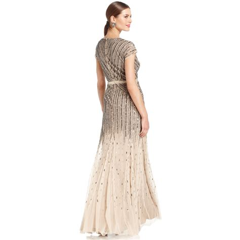 cap sleeve beaded sequined gown papell capsleeve beaded sequined gown in