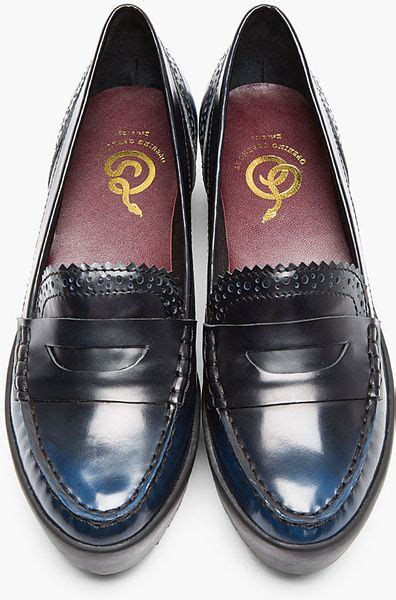 spectator loafers opening ceremony navy buffed leather spectator loafers in
