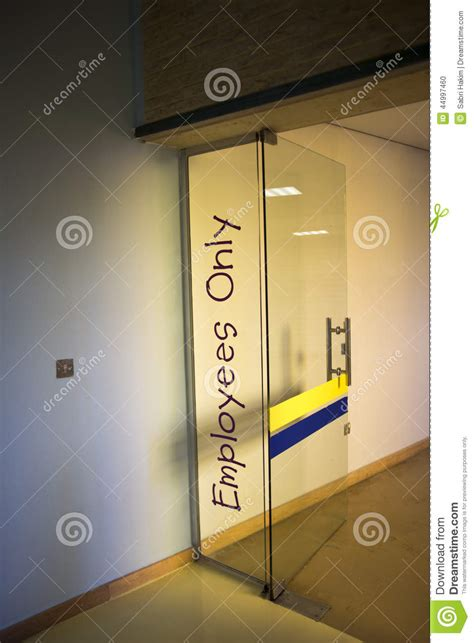 Signs For Glass Doors Employees Only Door Sign Stock Photo Image 44997460