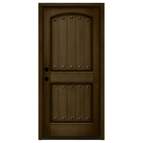 Prehung Wood Exterior Doors Steves Sons 32 In X 80 In Rustic 2 Panel Plank Stained Mahogany Wood Prehung Front Door
